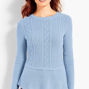Talbots baby blue peplum Cable knit sweater.